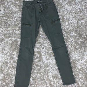 Army green skinny pants